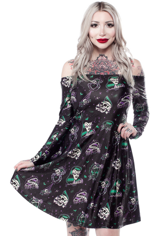 Sourpuss Undead Off Shoulder Dress
