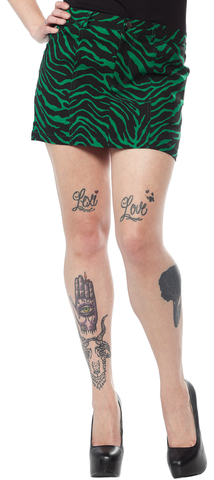 Sourpuss Five Pocket Mini Skirt Zebra Green