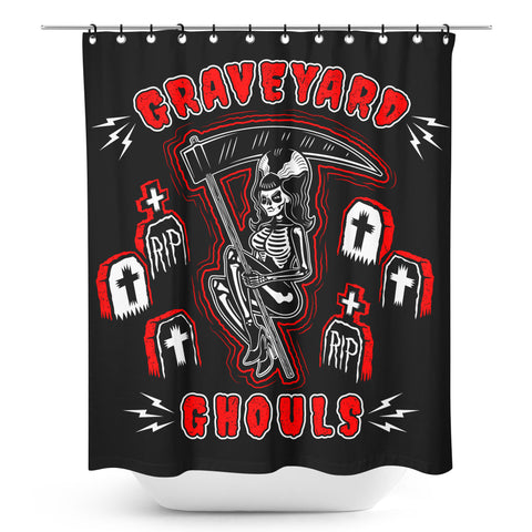 Sourpuss Graveyard Ghouls Shower Curtain