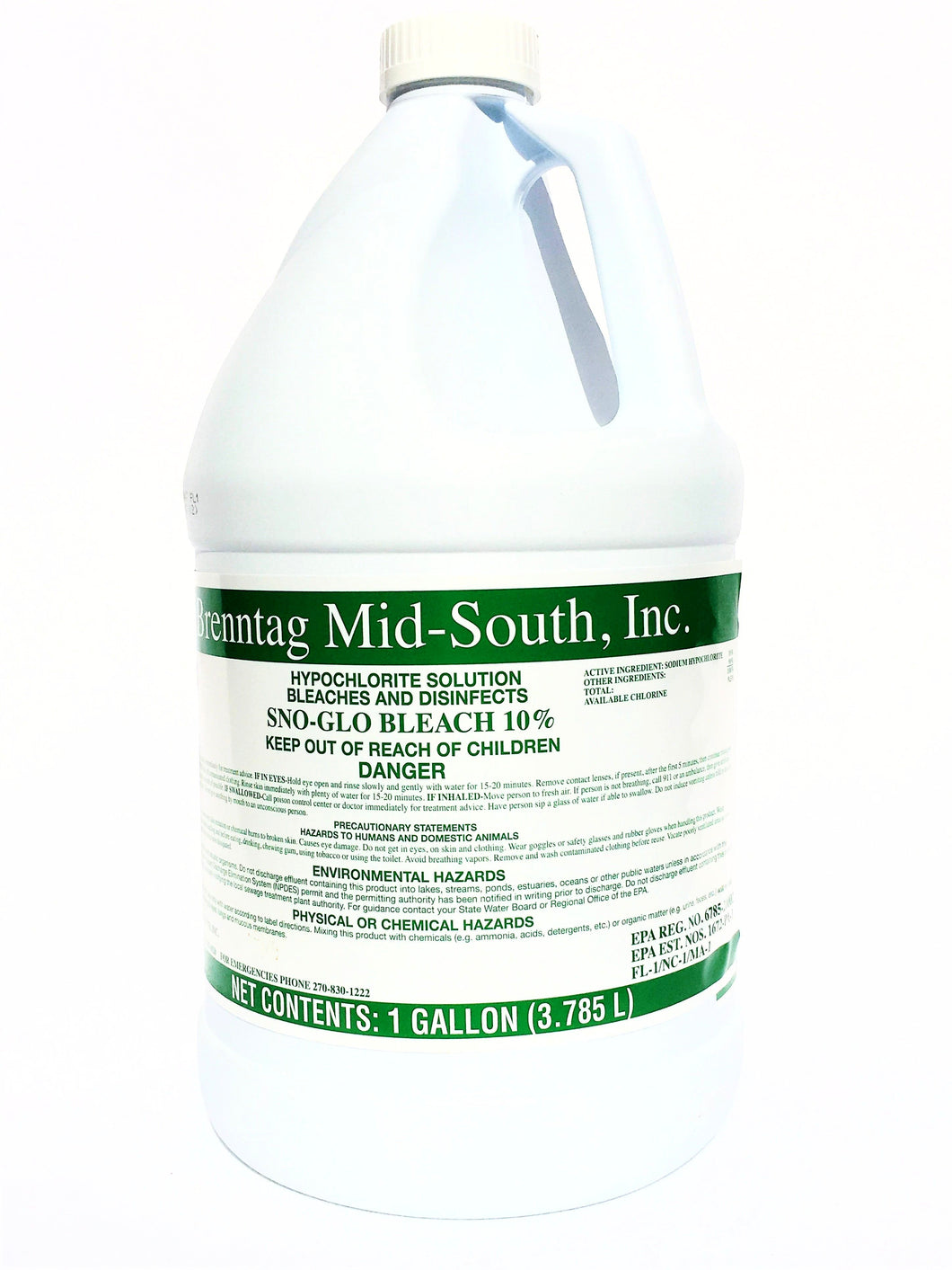 Brenntag Mid-South, Inc. Sno-Glo Bleach 10% - 1 gallon
