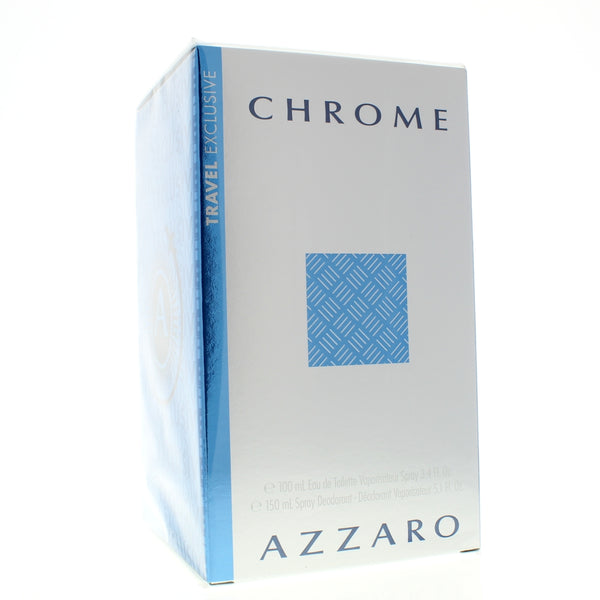 Azzaro Chrome Set 3.4 Edt + 5 Oz Deodorant Travel Set for Men - Airdamour.com
