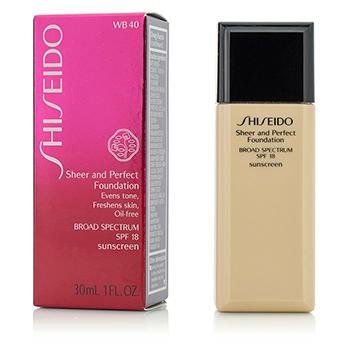 Shiseido Sheer and Perfect Foundation Spf 18, No. Wb40 Natural Fair Warm Beige, 1 Oz