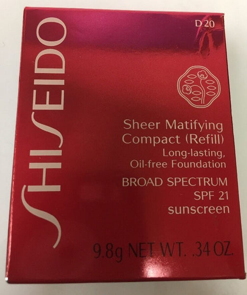 Shiseido Sheer Matifying Compact Refill Spf21 D20 Rich Brown - Online Shopping Fragrances, Perfumes & Makeup Airdamour.com