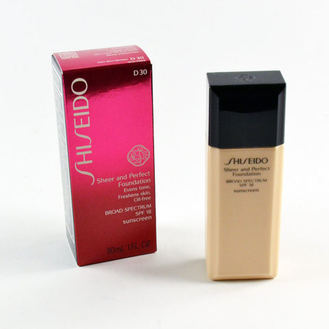 Shiseido Sheer & Perfect Foundation SPF18 D30 / D 30 Very Rich Brown - 1 Oz.