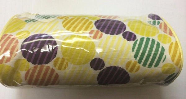 Joan Rivers Beauty cosmetic bag yellow with color circles design - Airdamour.com