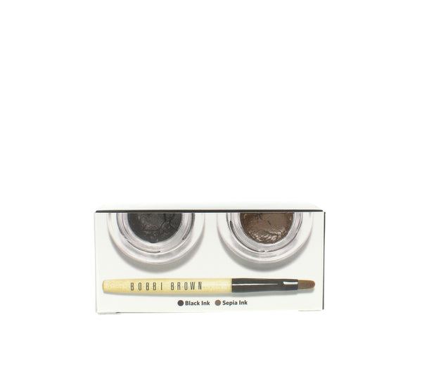 Bobbi Brown Long Wear Gel Eyeliner Kit in Black Ink + Sepia Ink + Mini Brush - Online Shopping Fragrances, Perfumes & Makeup Airdamour.com