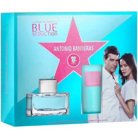 Antonio Banderas Blue Seduction for Women Set 1.7 Edt Sp + 3.4 Fresh Body Lotion - Airdamour.com