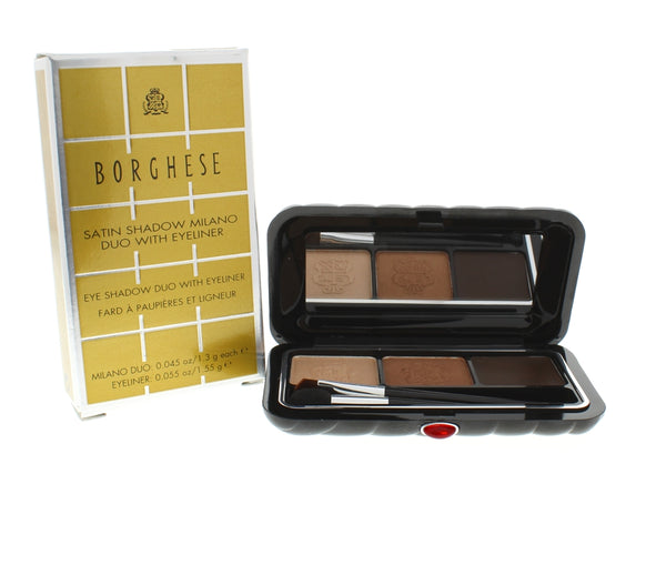 Borghese Satin Shadow Milano Duo With Eyeliner Belleza Brown-01 - Online Shopping Fragrances, Perfumes & Makeup Airdamour.com