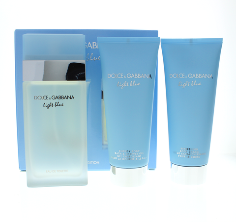 Dolce & Gabbana Light Blue Women Travel Edition 3.3 Edt Sp + 3.3 Body Cream + 3.3 Shower Gel - Airdamour.com