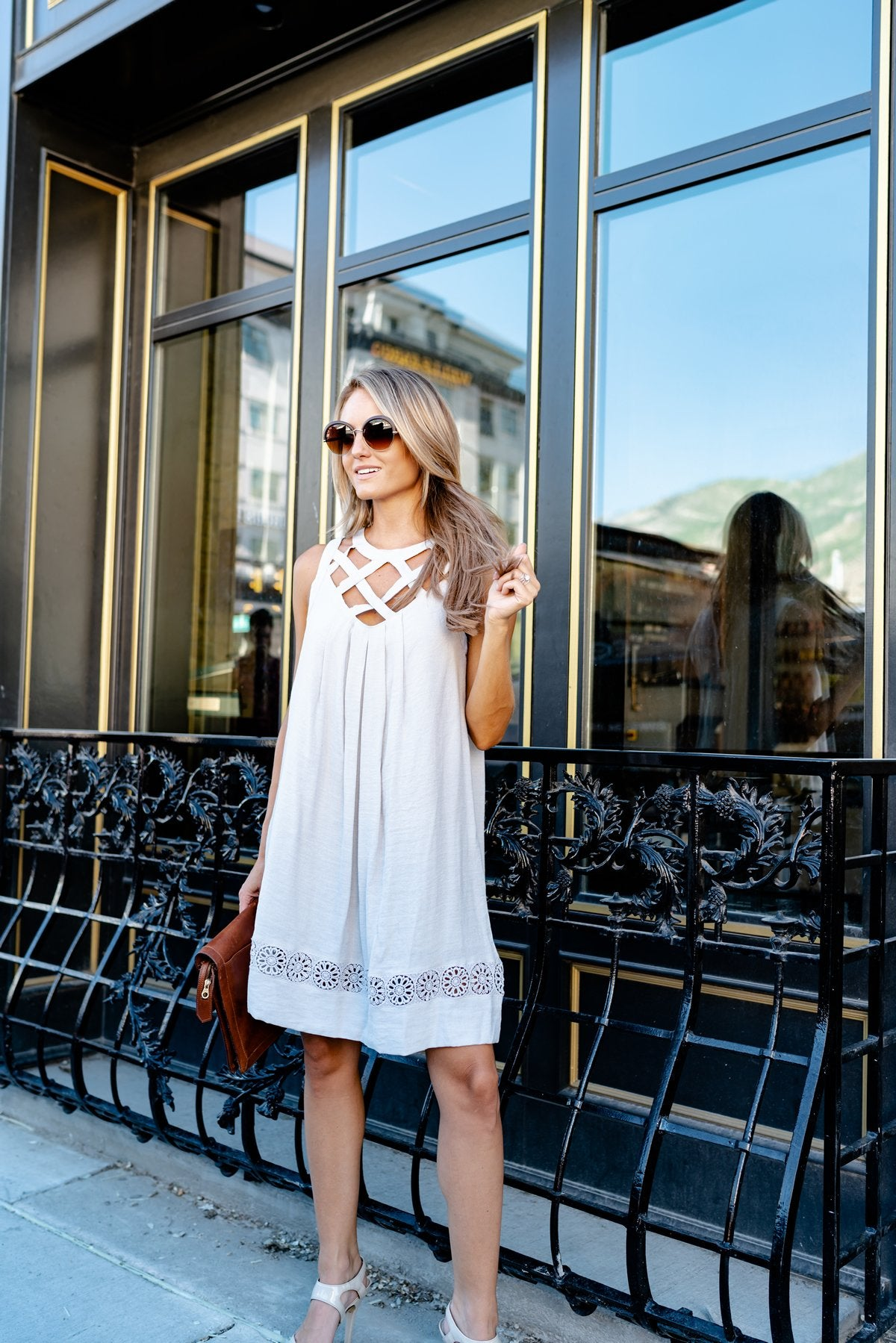 Gray Criss Cross Dress + Lace Hem