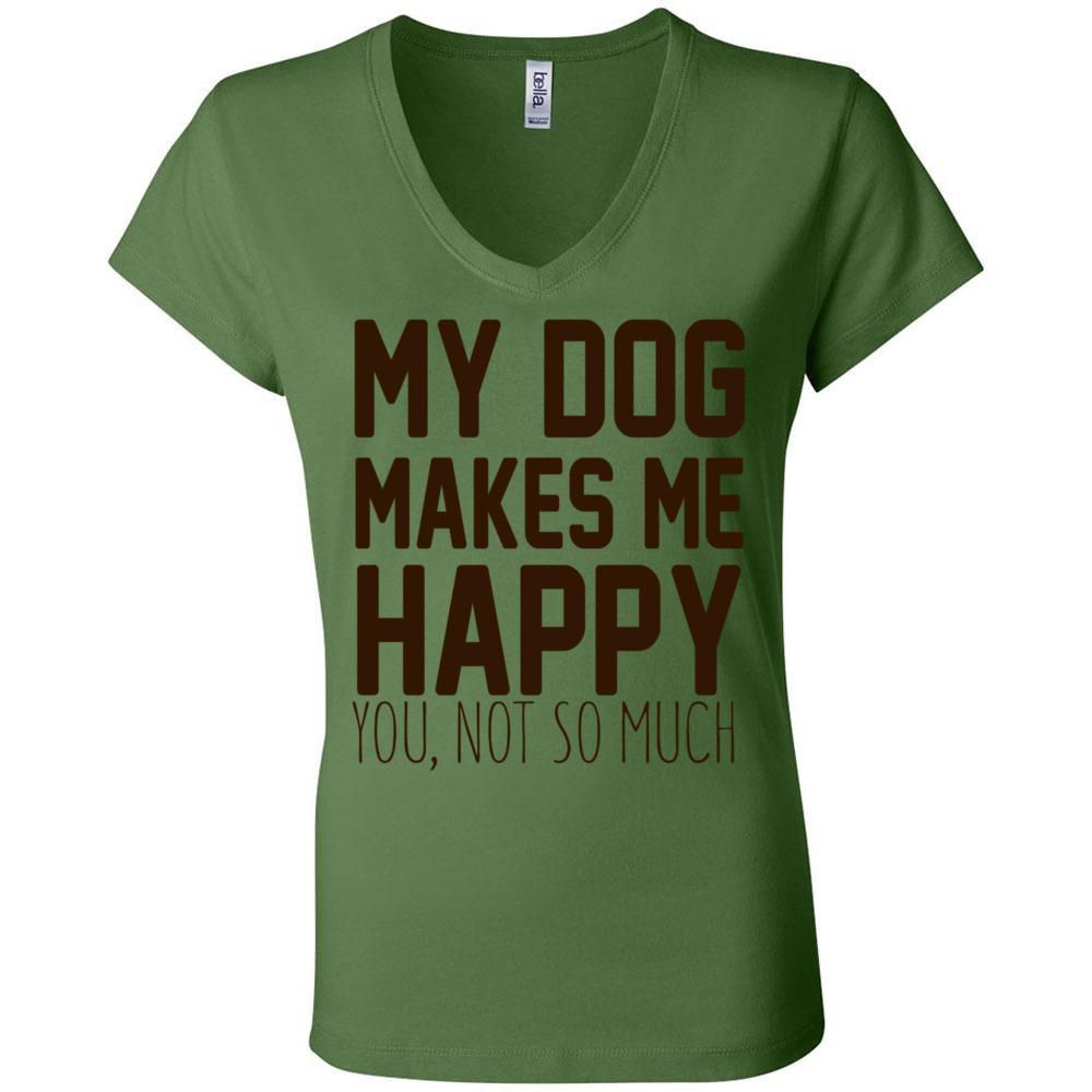 My Dog Makes Me Happy Bella Canvas - Women's Short Sleeve Jersey V-Neck Tee, T-Shirts, Whip Me Wear Fashion & T-Shirts