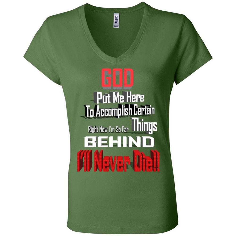 God Funny Quotes I'm So Far Behind Bella Canvas - Women's Short Sleeve Jersey V-Neck Tee, T-Shirts, Whip Me Wear Fashion & T-Shirts