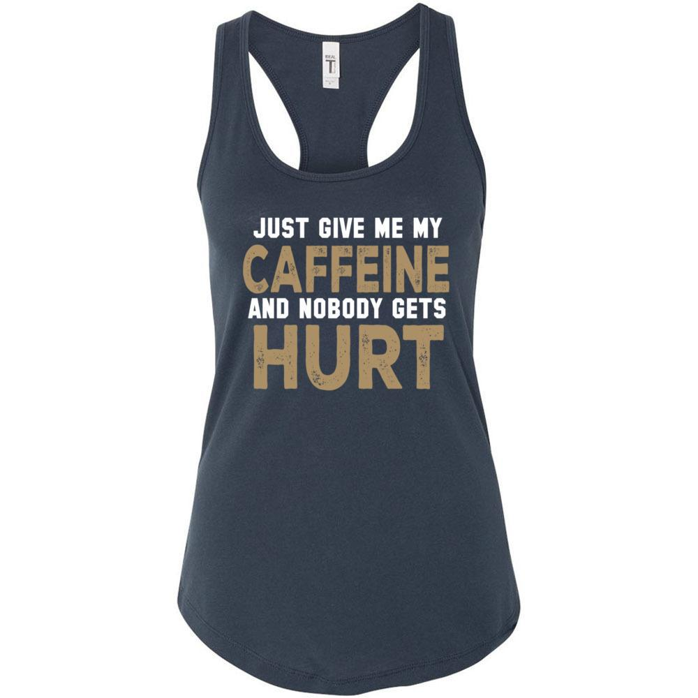 Give Me Caffeine Funny Coffee Tshirt, Next Level - Women's Ideal Racerback Tank, Tank Tops, Whip Me Wear Fashion & T-Shirts