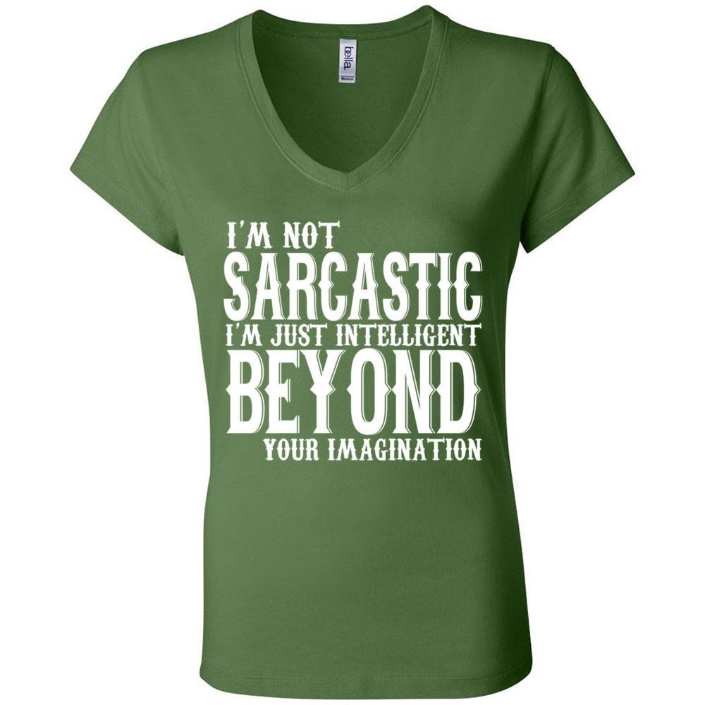 I'm Not Sarcastic Funny T Bella Canvas - Women's Short Sleeve Jersey V-Neck Tee, T-Shirts, Whip Me Wear Fashion & T-Shirts