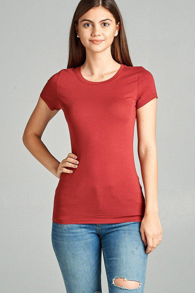 Ladies fashion short sleeve crew neck tee w/ contrast neck inbinding, , Whip Me Wear Fashion & T-Shirts