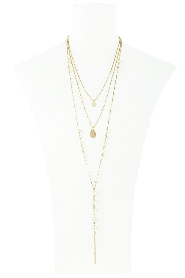 Linear bar accent faux pearl layer necklace set, , Whip Me Wear Fashion & T-Shirts