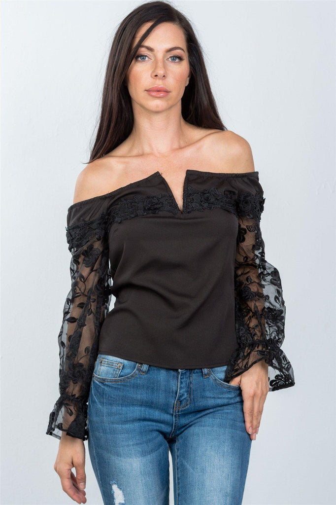 Ladies fashion v-wire off the shoulder floral applique top, , Whip Me Wear Fashion & T-Shirts