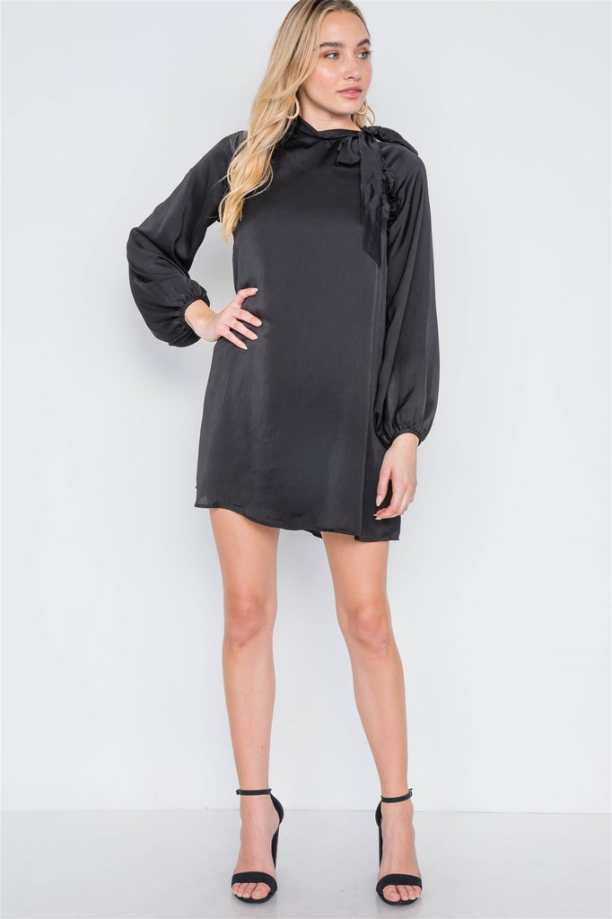 Satin Long Sleeve Side-tie Mini Dress, , Whip Me Wear Fashion & T-Shirts