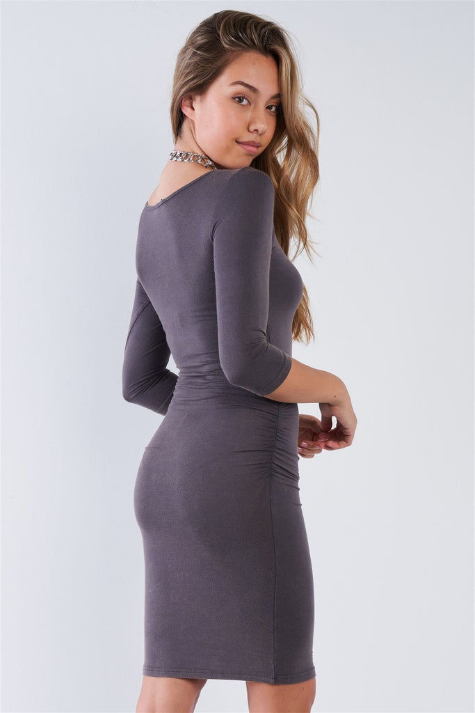 Grey Ruched Shirred Side Long Sleeves Bodycon Midi Dress, , Whip Me Wear Fashion & T-Shirts