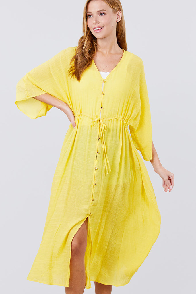 Elbow Sleeve Waist Ribbon Tie Button Down Long Woven Cardigan, , Whip Me Wear Fashion & T-Shirts