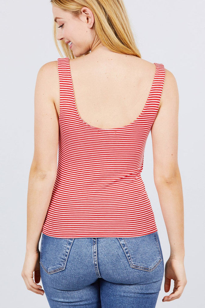 Sleeveless Double Scoop Neck Stripe 2 Ply Rib Knit Top, , Whip Me Wear Fashion & T-Shirts
