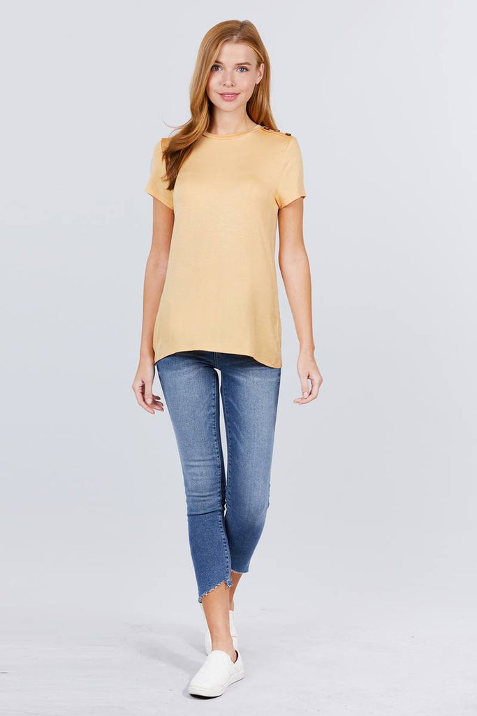 Short Sleeve Crew Neck W/shoulder Button Detail Rayon Spandex Top, , Whip Me Wear Fashion & T-Shirts