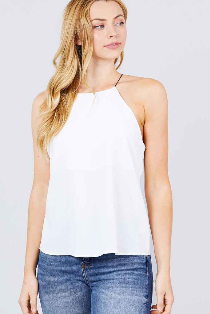 Elastic String Halter Neck Woven Top, , Whip Me Wear Fashion & T-Shirts