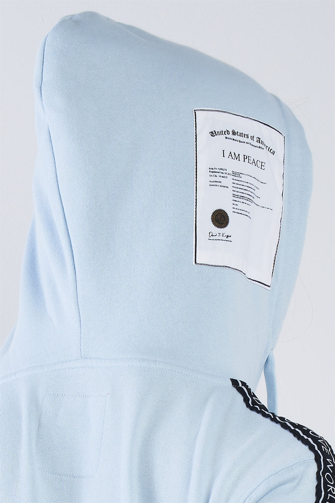 "Baby Blue ""i Am Peace, All Of Me"" Graphic Long Sleeve Hoodie, , Whip Me Wear Fashion & T-Shirts"