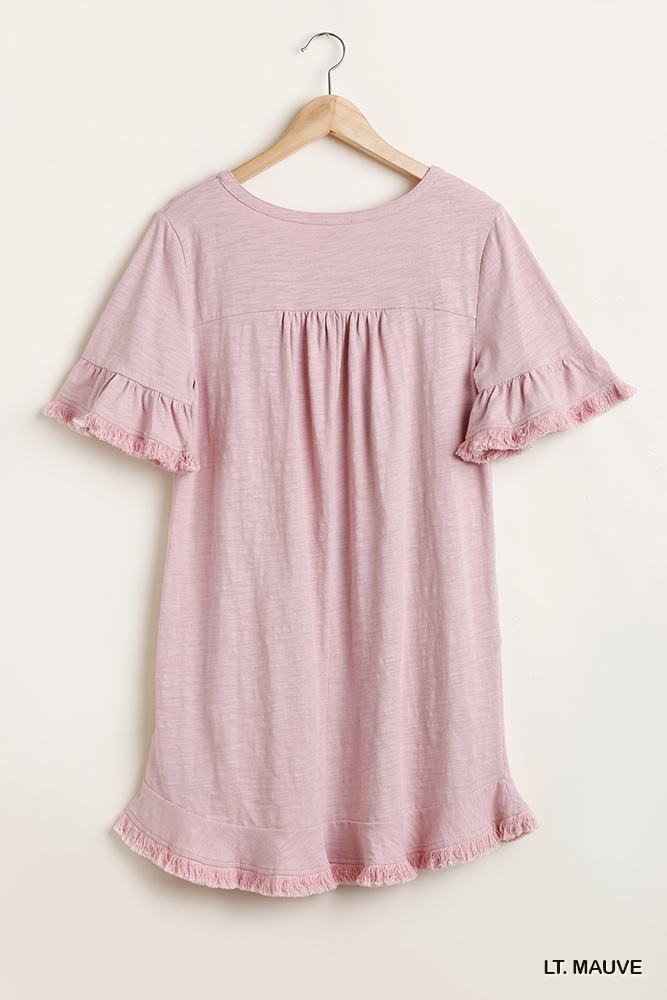 Short Ruffle Frayed Hem And Round Neck Dress With Pockets