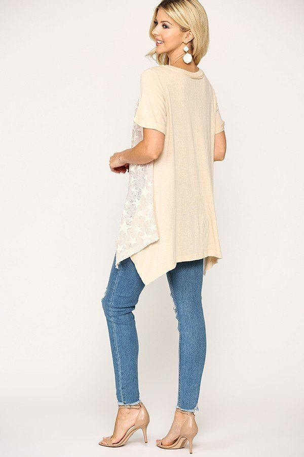 Star Textured Knit Mixed Tunic Top With Shark Bite Hem