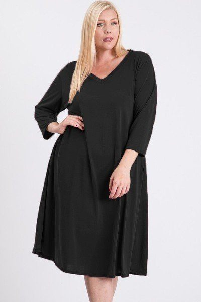V Neck Hidden Pocket Swing Dress