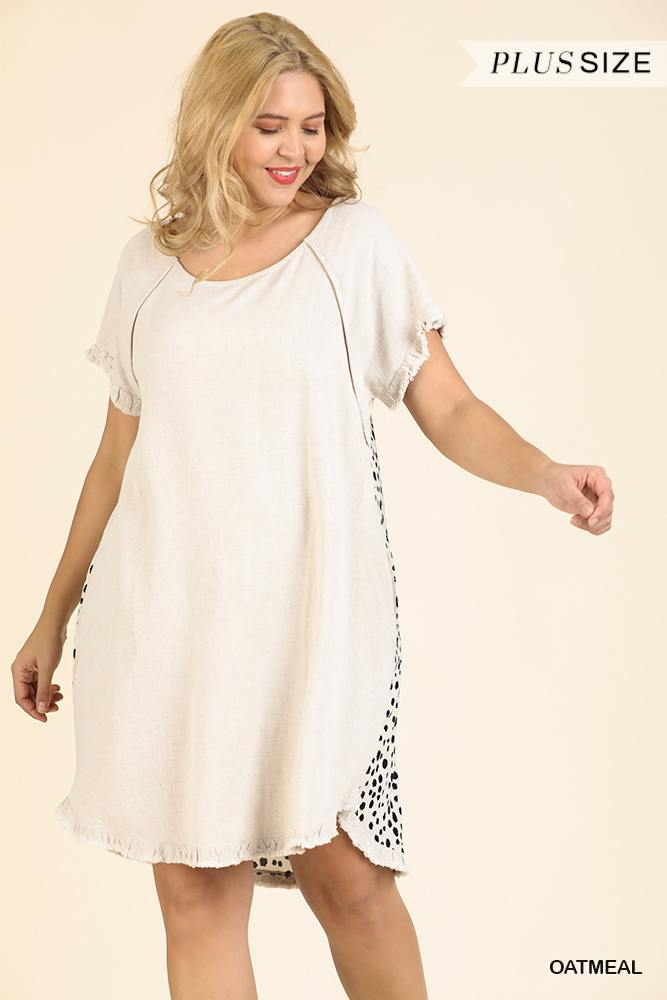 Short Ruffle Sleeve Round Neck Dress With Dalmatian Print Back And Ruffle Frayed Scoop Hem