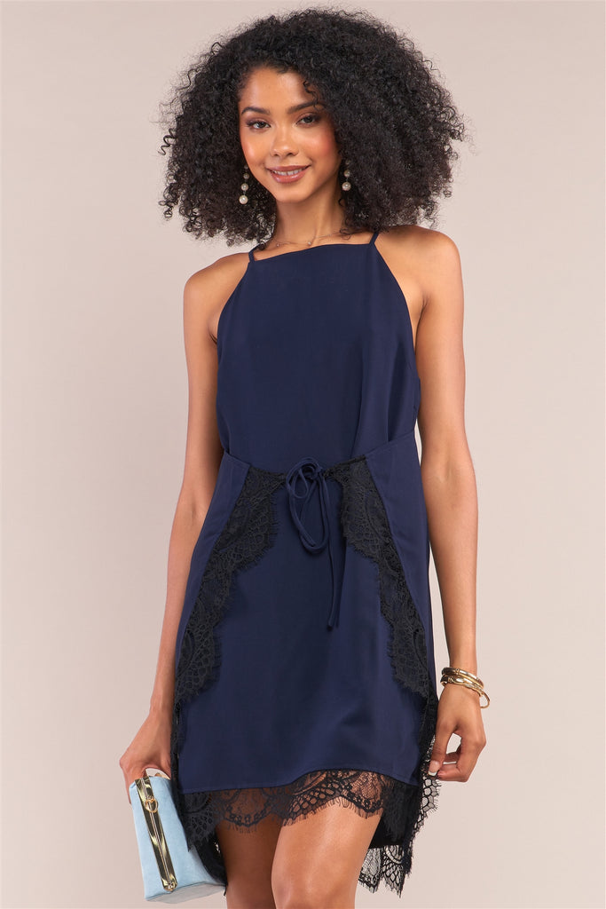Navy Halter Neck Sleeveless Front Self-tie Lace Trim Slip Mini Dress