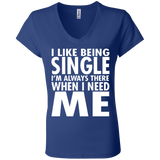80 I Like Being Single B6005 Bella + Canvas Ladies' Jersey V-Neck T-Shirt, T-Shirts, Whip Me Wear Fashion & T-Shirts