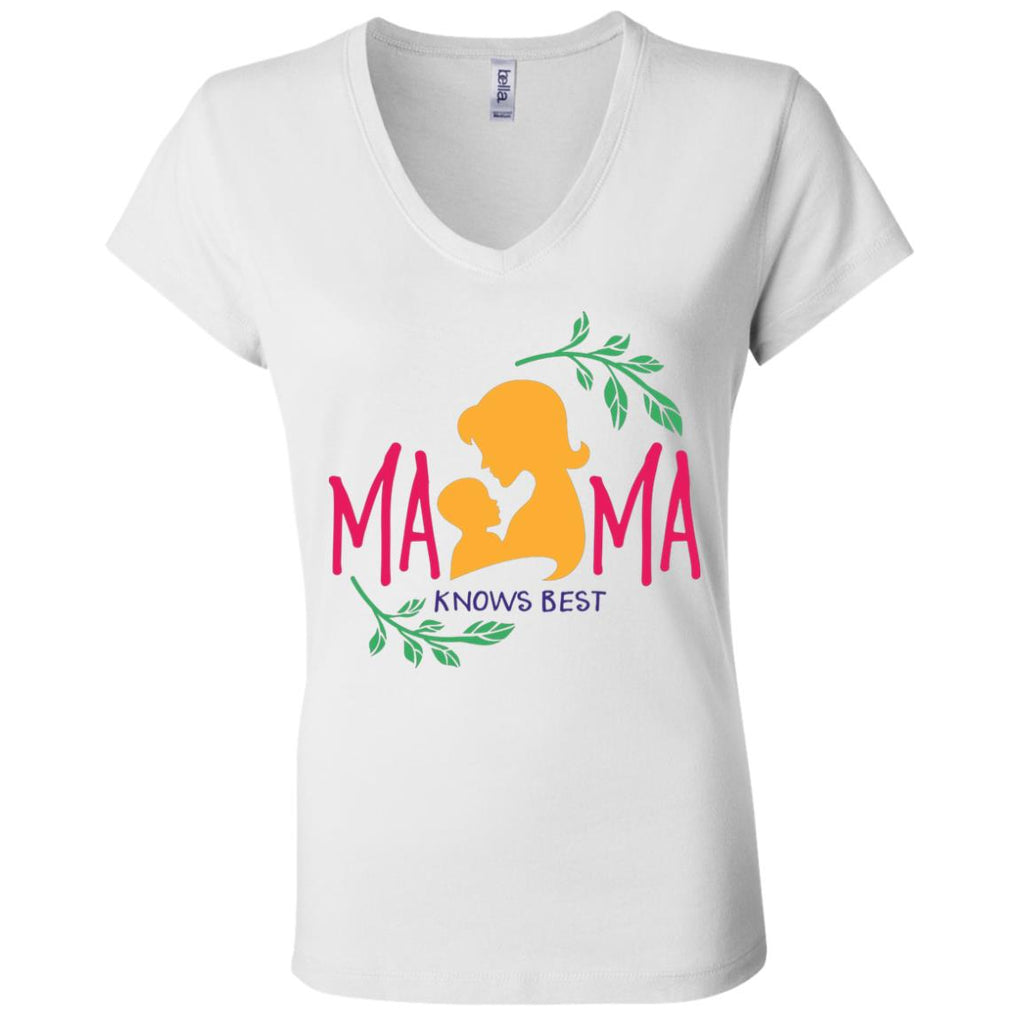 F4 Mama Knows Best B6005 Ladies' Jersey V-Neck T-Shirt, T-Shirts, Whip Me Wear Fashion & T-Shirts