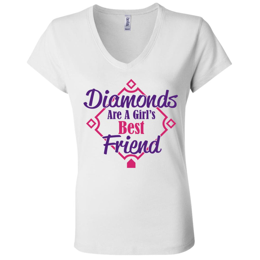 Diamonds Are A Girls Best Friend V-Neck T-Shirt #01, T-Shirts, Whip Me Wear Fashion & T-Shirts