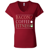 602 Bacon Coffee Fitness B6005 Bella + Canvas Ladies' Jersey V-Neck T-Shirt, T-Shirts, Whip Me Wear Fashion & T-Shirts