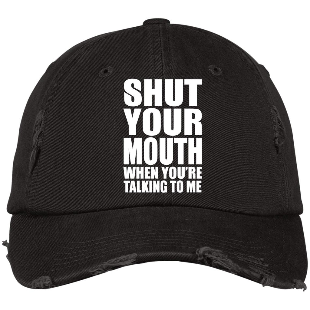 188 Shut Your Mouth DT600 District Distressed Dad Cap, Hats, Whip Me Wear Fashion & T-Shirts