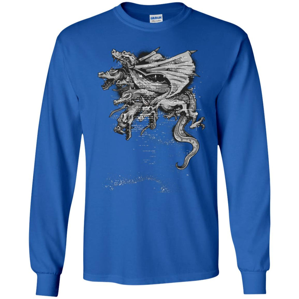 D412 Goth Dragon Heads G240 Gildan LS Ultra Cotton T-Shirt, T-Shirts, Whip Me Wear Fashion & T-Shirts
