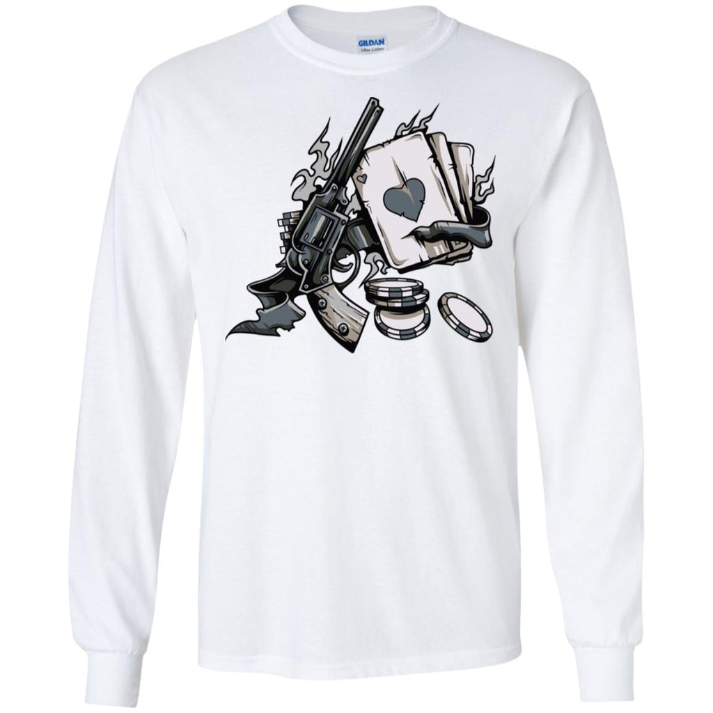 D645 Vintage Gun W Cards G240 Gildan LS Ultra Cotton T-Shirt, T-Shirts, Whip Me Wear Fashion & T-Shirts