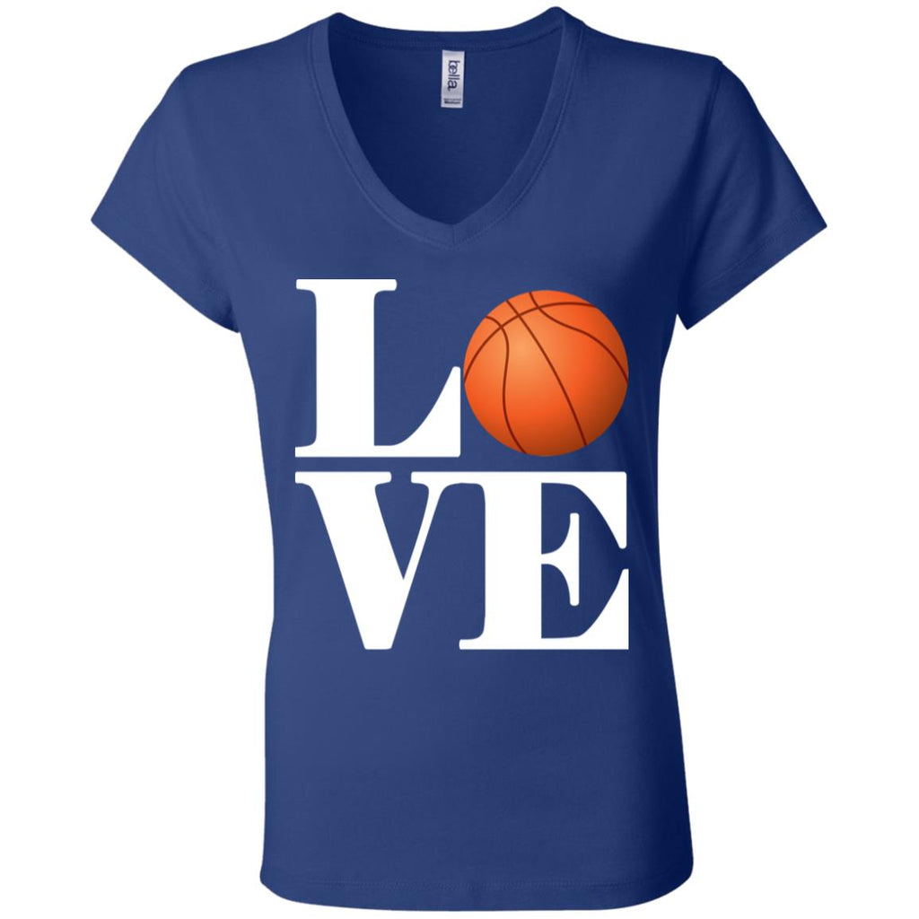 614 Love Basketball B6005 Bella + Canvas Ladies' Jersey V-Neck T-Shirt, T-Shirts, Whip Me Wear Fashion & T-Shirts