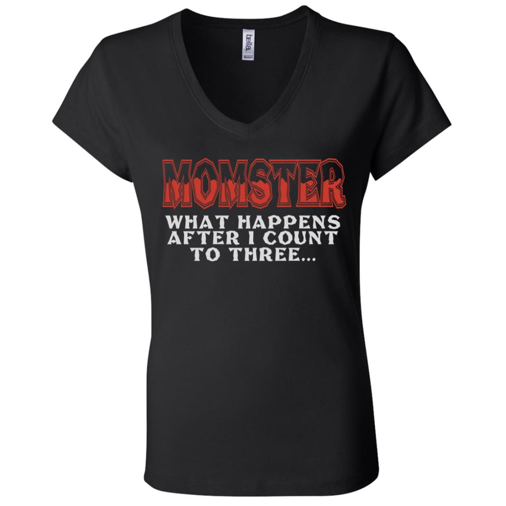 672 Momster Count 3 B6005 Ladies' Jersey V-Neck T-Shirt, T-Shirts, Whip Me Wear Fashion & T-Shirts