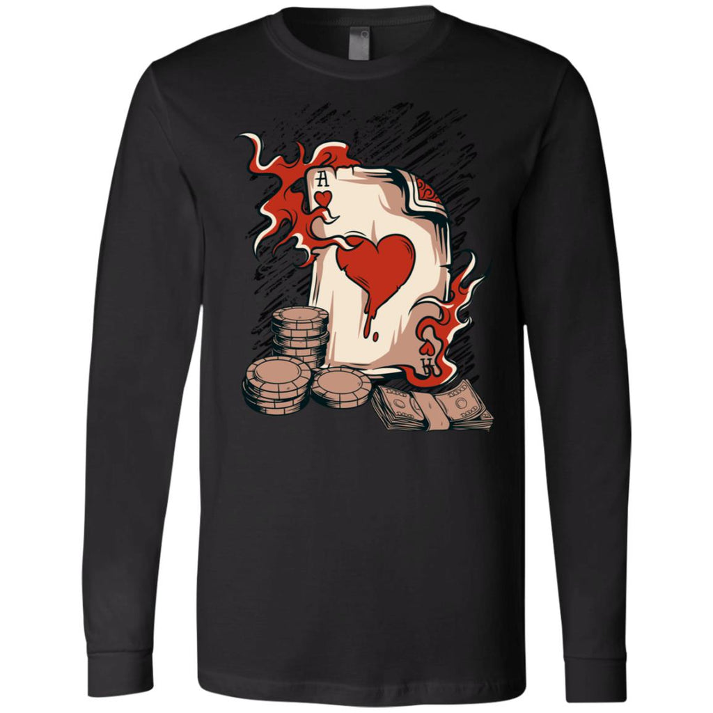 D606 Vintage Ace Hearts 3501 Bella + Canvas Men's Jersey LS T-Shirt, T-Shirts, Whip Me Wear Fashion & T-Shirts
