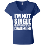 81 I'm Romantically Challenged B6005 Bella + Canvas Ladies' Jersey V-Neck T-Shirt, T-Shirts, Whip Me Wear Fashion & T-Shirts