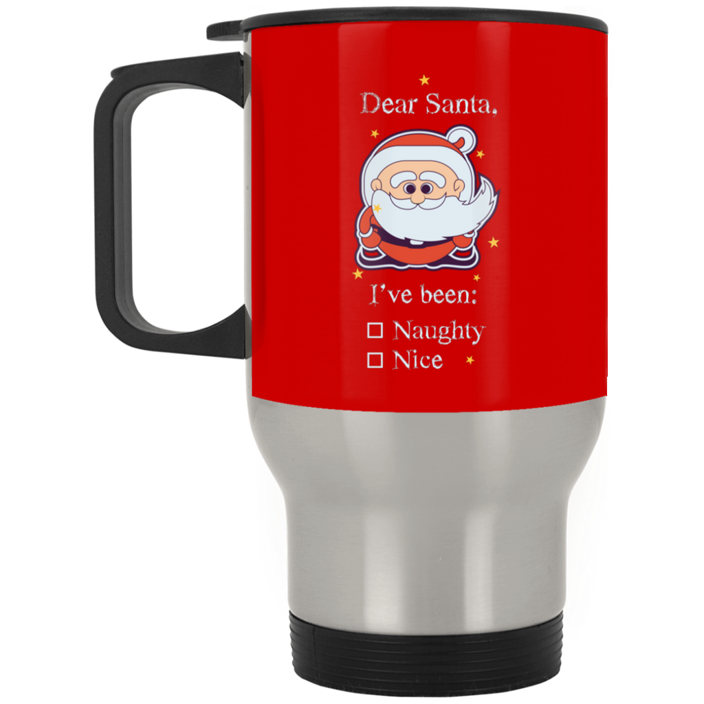 V1381 I've Been Naughty XP8400S Silver Stainless Travel Mug, Drinkware, Whip Me Wear Fashion & T-Shirts
