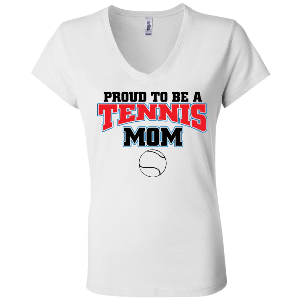 T04 Proud Tennis Mom B6005 Ladies' Jersey V-Neck T-Shirt, T-Shirts, Whip Me Wear Fashion & T-Shirts