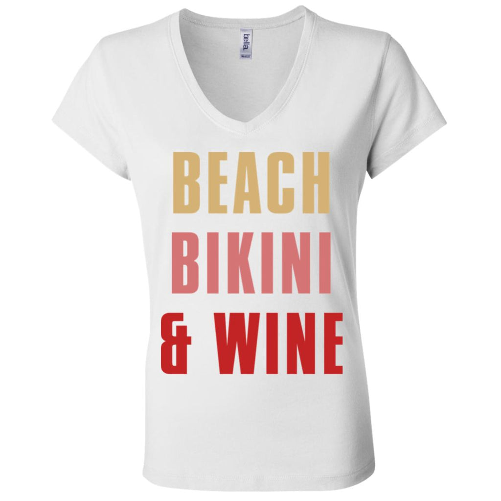 W13 Beach Bikini & Wine B6005 Ladies' Jersey V-Neck T-Shirt, T-Shirts, Whip Me Wear Fashion & T-Shirts