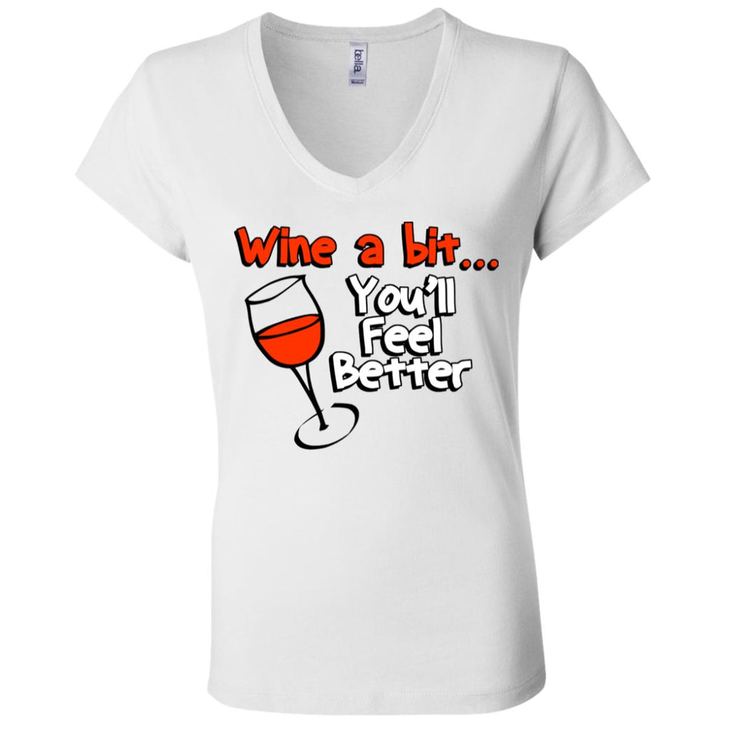Z06 Wine A Bit B6005 Bella + Canvas Ladies' Jersey V-Neck T-Shirt, T-Shirts, Whip Me Wear Fashion & T-Shirts