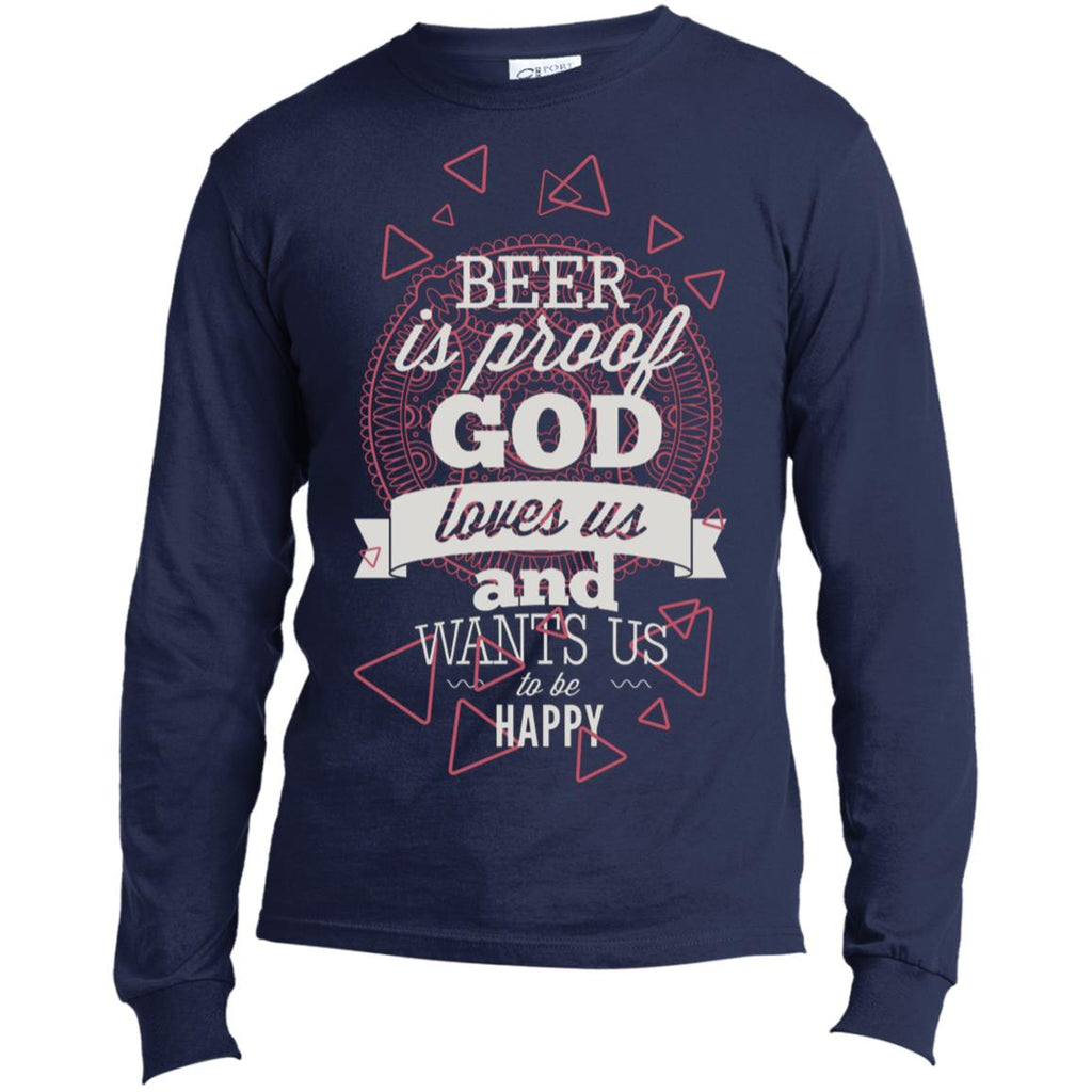 D995 God Wanted Beer USA100LS Port & Co. LS Made in the US T-Shirt, T-Shirts, Whip Me Wear Fashion & T-Shirts