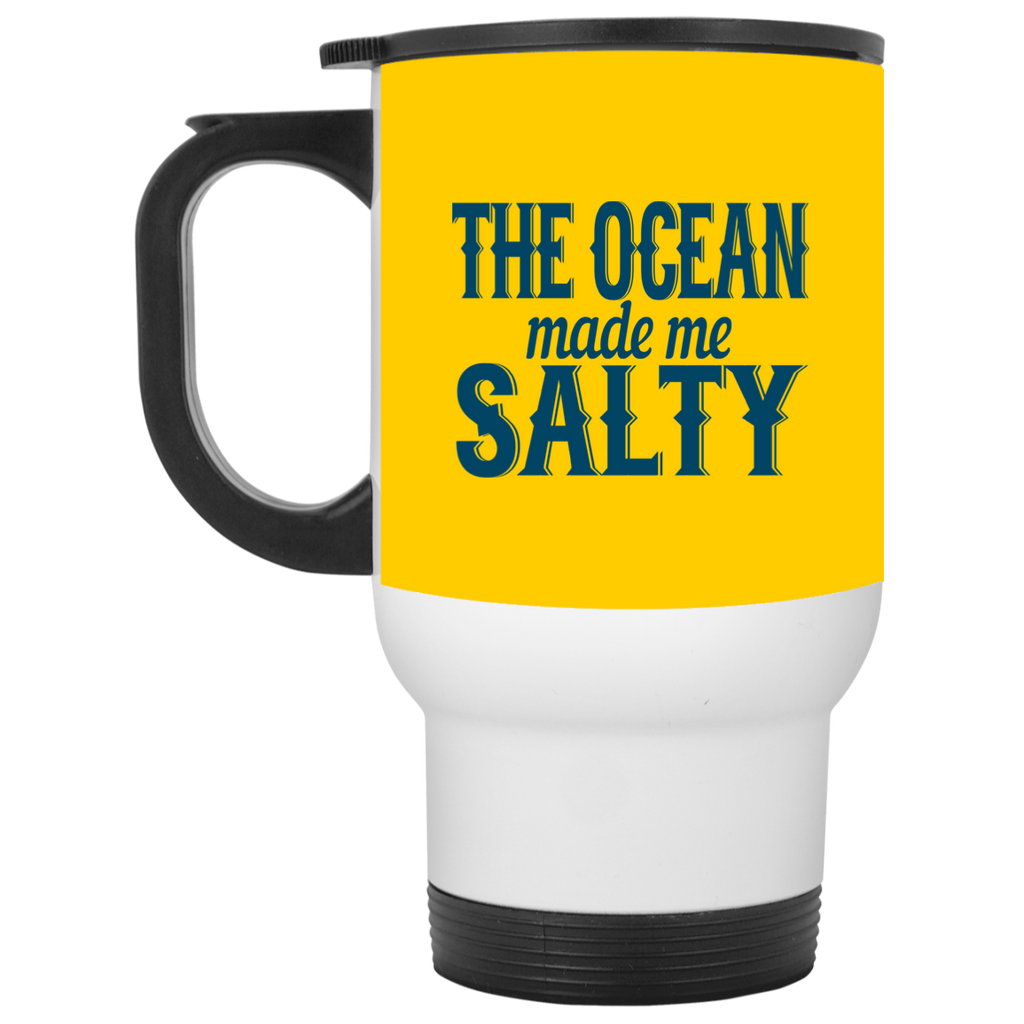 783 The Ocean Made Me Salty XP8400W White Travel Mug, Drinkware, Whip Me Wear Fashion & T-Shirts